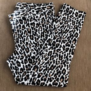 Cache Leopard Stretch Skinny Fit Ankle Jeans Sz 10